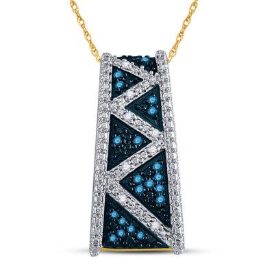 10kt Yellow Gold Womens Round Blue Color Enhanced Diamond Bar Pendant 1/10 Cttw