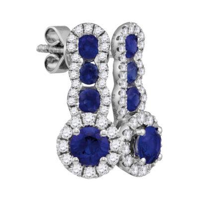 18kt White Gold Womens Round Blue Sapphire Diamond Fashion Earrings 1-3/8 Cttw
