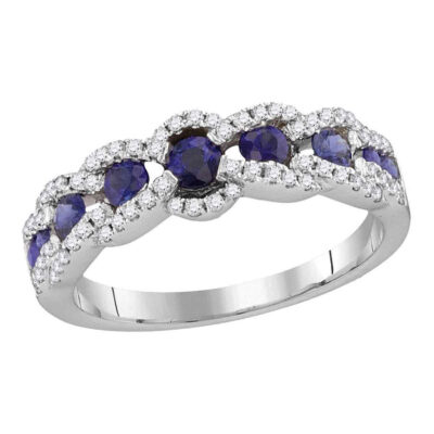 18kt White Gold Womens Round Blue Sapphire Diamond Band Ring 7/8 Cttw