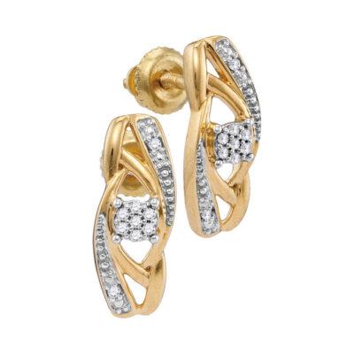 10kt Yellow Gold Womens Round Diamond Vertical Flower Cluster Earrings 1/20 Cttw