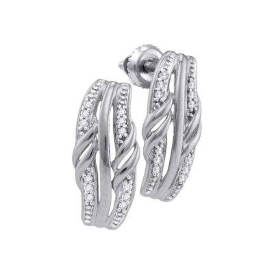 10kt White Gold Womens Round Diamond Fashion Earrings 1/12 Cttw