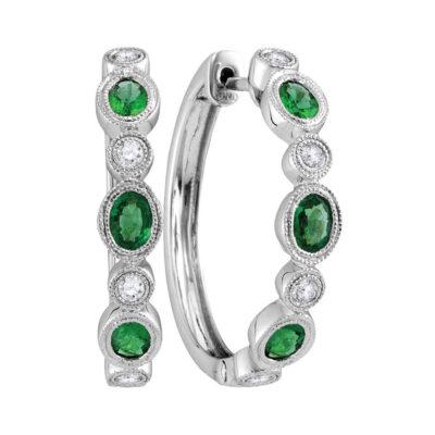 18kt White Gold Womens Oval Emerald Diamond Hoop Earrings 1 Cttw