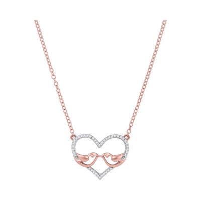10kt Rose Gold Womens Round Diamond Bird Heart Pendant Necklace 1/8 Cttw