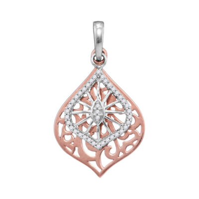 10kt Two-tone Gold Womens Round Diamond Openwork Wide Oval Pendant 1/8 Cttw