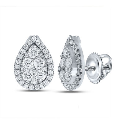 18kt White Gold Womens Round Diamond Teardrop Cluster Earrings 1-1/2 Cttw