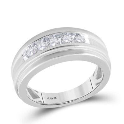 14k White Gold Round Channel-set Diamond Mens Wedding Band 1/2 Cttw