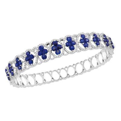 18kt White Gold Womens Round Blue Sapphire Bangle Bracelet 8-7/8 Cttw