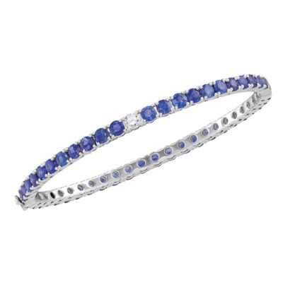 18kt White Gold Womens Round Blue Sapphire Bangle Bracelet 9 Cttw