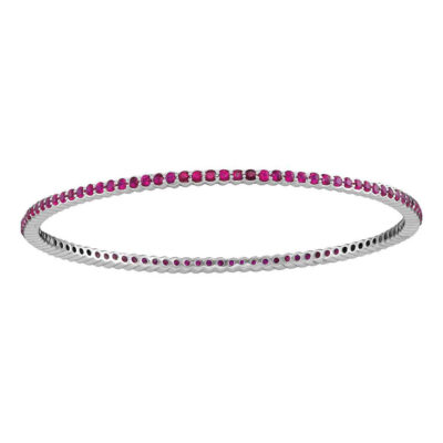 18kt White Gold Womens Round Ruby Single Row Bangle Bracelet 3 Cttw