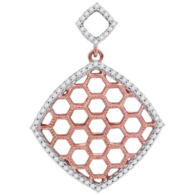 10kt Two-tone Gold Womens Round Diamond Honeycomb Offset Square Pendant 1/5 Cttw
