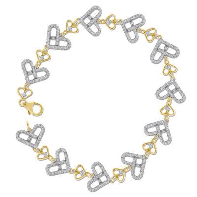 10kt Yellow Gold Womens Round Diamond Link Heart Bracelet 1 Cttw