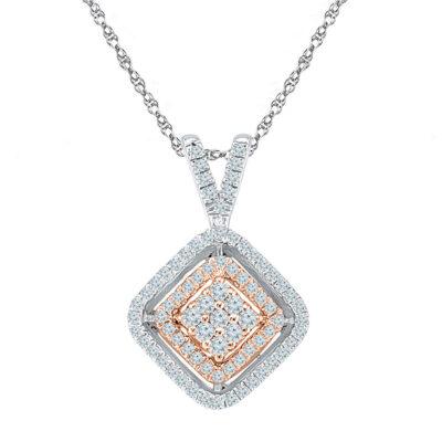 10kt Two-tone Gold Womens Round Diamond Offset Square Pendant 1/4 Cttw