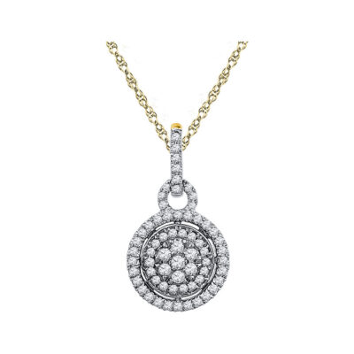 10kt Two-tone Gold Womens Round Diamond Circle Cluster Pendant 1/2 Cttw