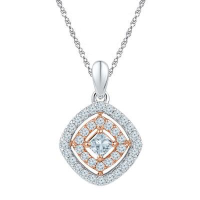 10kt Two-tone Gold Womens Princess Diamond Offset Square Pendant 1/2 Cttw