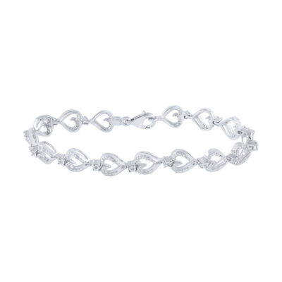 Sterling Silver Womens Round Diamond Heart Bracelet 1/10 Cttw