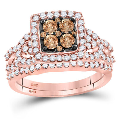 10kt Rose Gold Womens Round Brown Diamond Bridal Wedding Ring Band Set 1 Cttw
