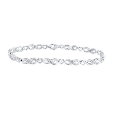 Sterling Silver Womens Round Diamond Infinity Heart Link Bracelet 1/20 Cttw