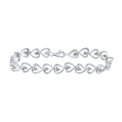 Sterling Silver Womens Round Diamond Heart Link Bracelet 1/10 Cttw