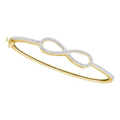 10kt Yellow Gold Womens Round Diamond Infinity Love Bangle Bracelet 1/3 Cttw