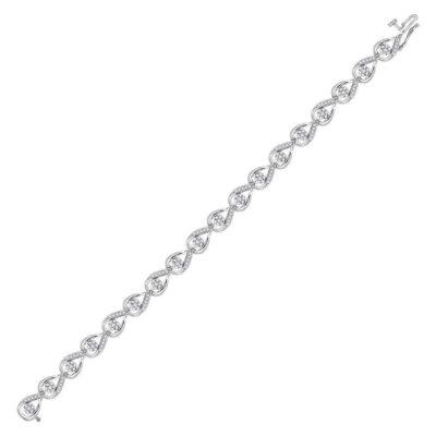 10kt White Gold Womens Round Diamond Teardrop Cluster Fashion Bracelet 1-1/5 Cttw