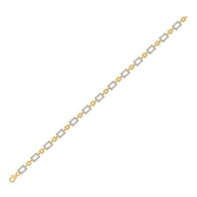 10kt Yellow Gold Womens Round Diamond Geometric Link Bracelet 3/4 Cttw
