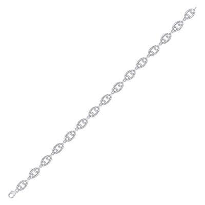 10kt White Gold Womens Round Diamond Fashion Bracelet 1 Cttw