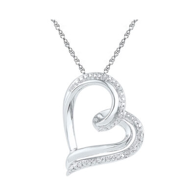 Sterling Silver Womens Round Diamond Heart Pendant .03 Cttw