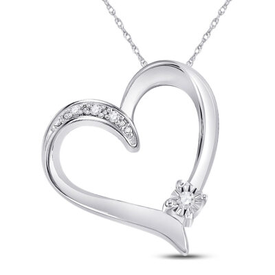 Sterling Silver Womens Round Diamond Solitaire Heart Pendant .03 Cttw