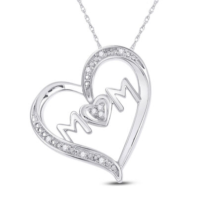 Sterling Silver Womens Round Diamond Mom Heart Pendant 1/20 Cttw
