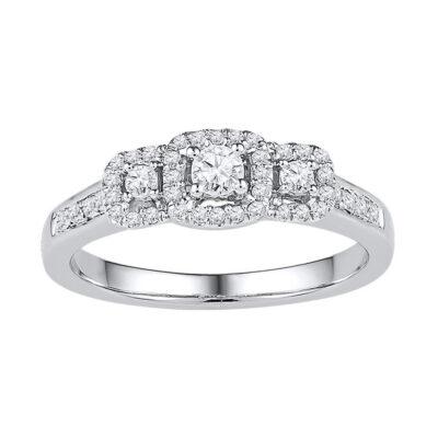 10kt White Gold Round Diamond 3-stone Bridal Wedding Engagement Ring 3/8 Cttw