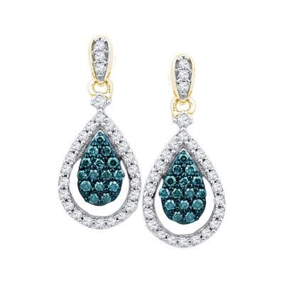 10kt Rose Gold Womens Round Blue Color Enhanced Diamond Teardrop Dangle Earrings 5/8 Cttw