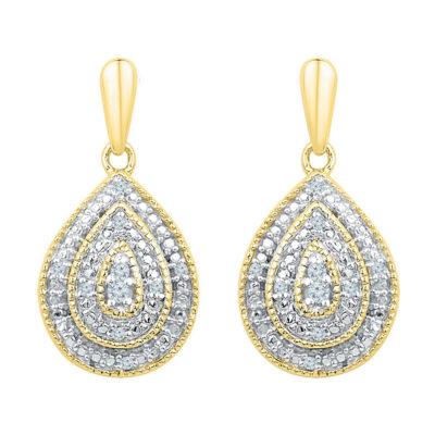 10kt Yellow Gold Womens Round Diamond Milgrain Teardrop Dangle Earrings 1/10 Cttw