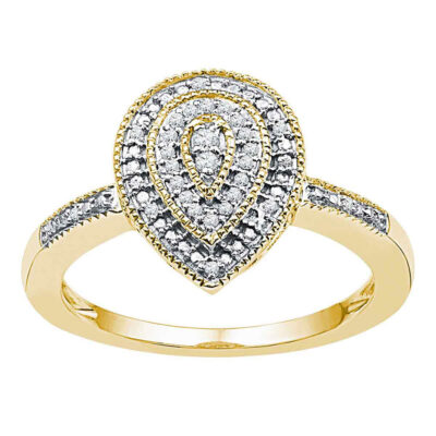 10kt Yellow Gold Womens Round Diamond Teardrop Cluster Ring 1/10 Cttw