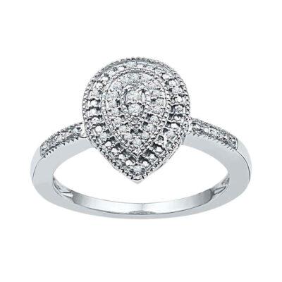 10kt White Gold Womens Round Diamond Teardrop Cluster Ring 1/10 Cttw