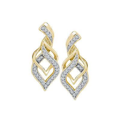 10kt Yellow Gold Womens Round Diamond Drop Earrings 1/5 Cttw