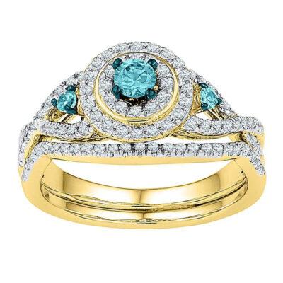 10kt Yellow Gold Womens Round Blue Color Enhanced Diamond Bridal Wedding Ring Set 5/8 Cttw