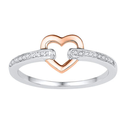10kt Two-tone Gold Womens Round Diamond Heart Ring 1/20 Cttw