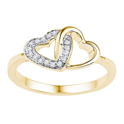 10kt Yellow Gold Womens Round Diamond Double Locked Heart Ring 1/12 Cttw