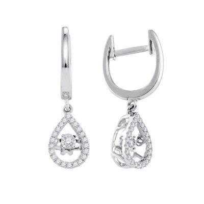 14kt White Gold Womens Round Moving Twinkle Diamond Teardrop Dangle Earrings 1/4 Cttw