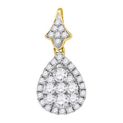 14kt Yellow Gold Womens Round Diamond Teardrop Cluster Pendant 3/4 Cttw