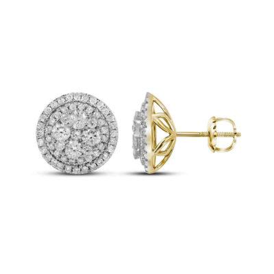 14kt Yellow Gold Womens Round Diamond Framed Flower Cluster Earrings 1-3/4 Cttw