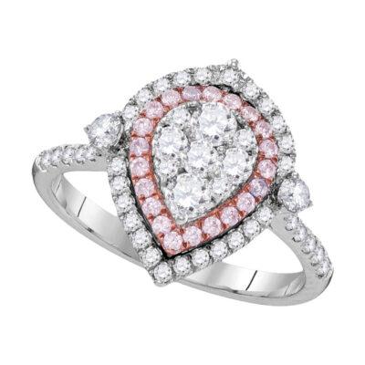 14kt White Gold Womens Round Pink Diamond Teardrop Cluster Ring 1 Cttw