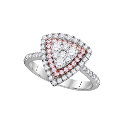 14kt White Gold Womens Round Pink Diamond Triangle Fashion Ring 1 Cttw