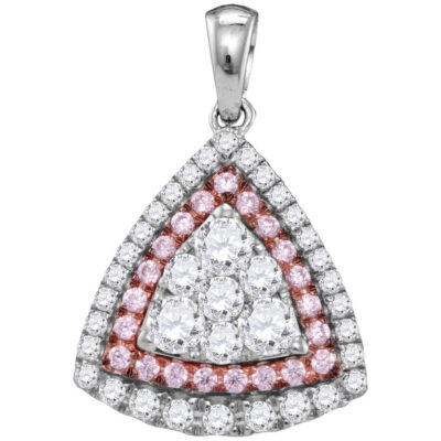 14kt White Gold Womens Round Pink Diamond Triangle Frame Cluster Pendant 1 Cttw