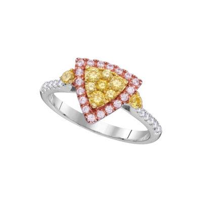 14kt White Gold Womens Round Yellow Pink Diamond Triangle Fashion Ring 7/8 Cttw