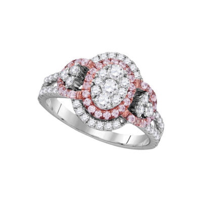 14kt White Gold Womens Round Pink Diamond Oval Cluster Ring 1-1/4 Cttw