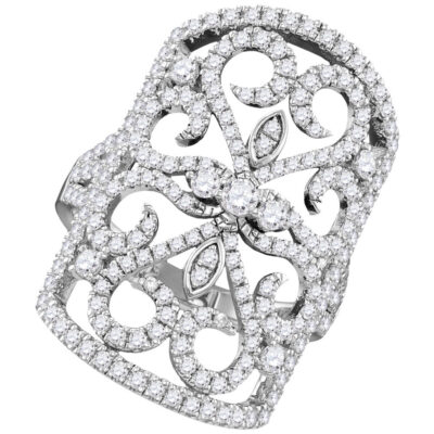 14kt White Gold Womens Round Diamond Vintage-style Knuckle Band Ring 1-5/8 Cttw
