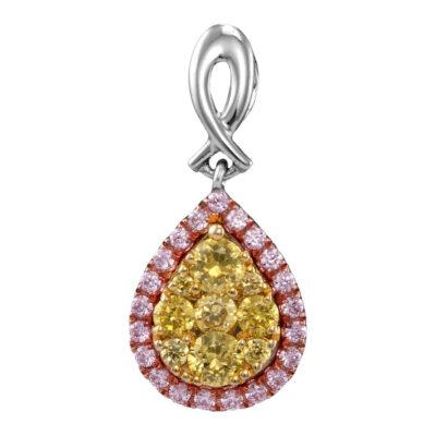 14kt White Gold Womens Round Yellow Pink Diamond Teardrop Cluster Pendant 5/8 Cttw