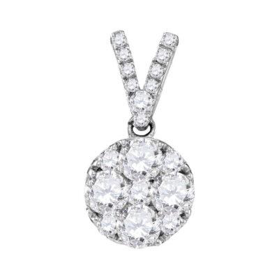10kt White Gold Womens Round Diamond Cluster Pendant 1 Cttw