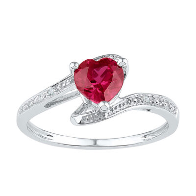10kt White Gold Womens Heart Lab-Created Ruby Solitaire Ring 1 Cttw Size 5